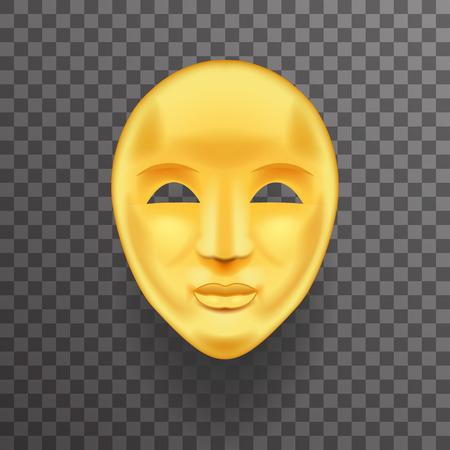 Mask Antique Golden Face Realistic 3d Transperent Icon Template Background Mock Up Design Vector Illustration