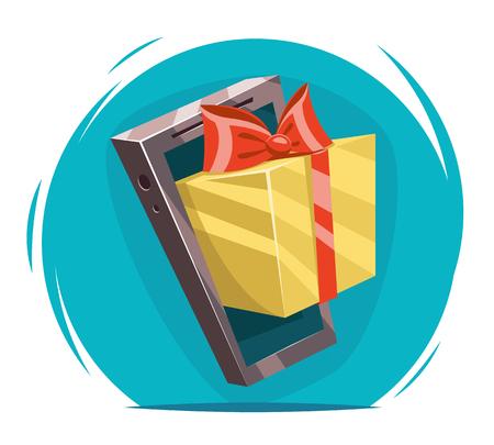 cartoon present: Giftbox Bow Mobile Phone Win Present Cartoon Greating Card Design Vector Illustration