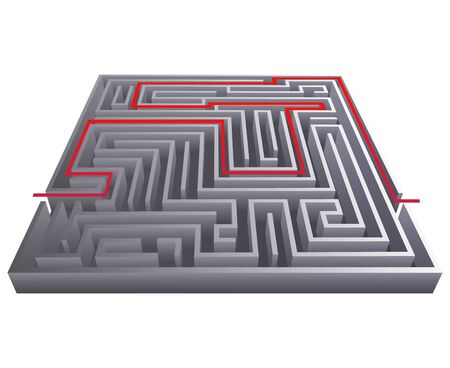 Way pass intricacy labyrinth isometric maze background 3d design template vector illustration