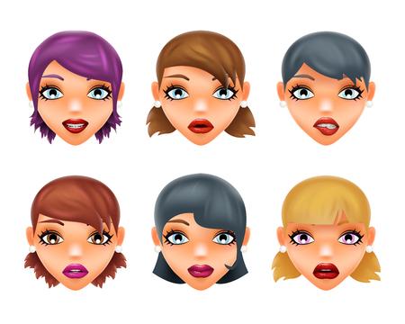 stylish woman: Girls stylish woman lips slightly open mouth isolated 3d realistic fashion mockup set transparent background design vector illustration