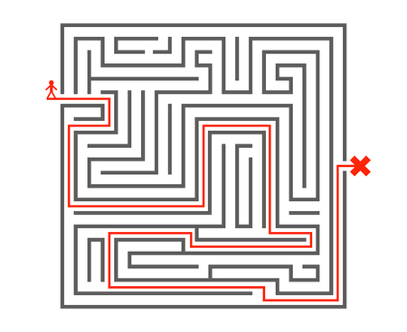 Man pass way intricacy labyrinth isometric maze background design template vector illustration