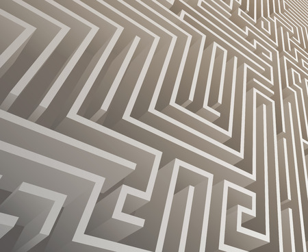 Isometric Intricacy labyrinth maze background 3d design template vector illustration