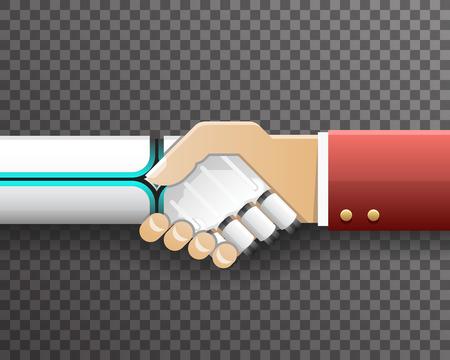 Robot Businessman Handshake Innovation Technology Partnership Symbol Transparent Background Design Isolated Vector Illustration