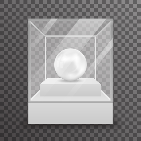 jewel box: Glass box isolated 3d realistic shop mockup transparent background design vector illustration