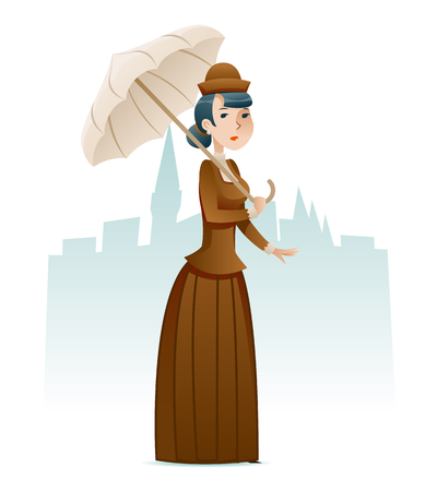 Victorian Lady Businesswoman Wealthy Cartoon Character Icon on Stylish English City Background Retro Vintage Great Britain Design Vector Illustration