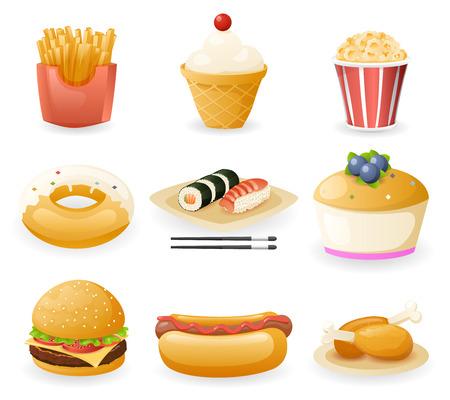 Retro Flat Fast Food Icons and Symbols Set Vector Illustration Illustration