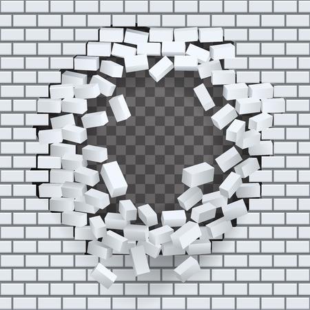 outward: Break hole in brick wall destruction template transparent background vector illustration Illustration