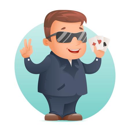 Casino poker cards gambling mascot professional player or lucky rookie cartoon design vector illustration Illustration