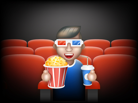 pall: Cinema Pall 3D Glasses Big Popcorn Soda Water Male Guy Man Boy Character Sit Armchair Realistic Cartoon Flat Design Vector illustration Illustration