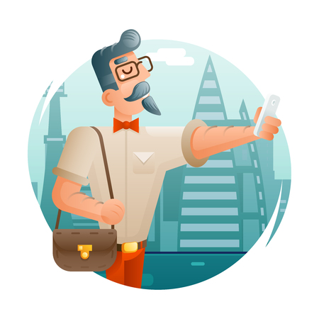 city icon: Hipster Geek Mobile Phone Selfie Businessman Cartoon Character Icon City Background Flat Design Vector Illustration Illustration