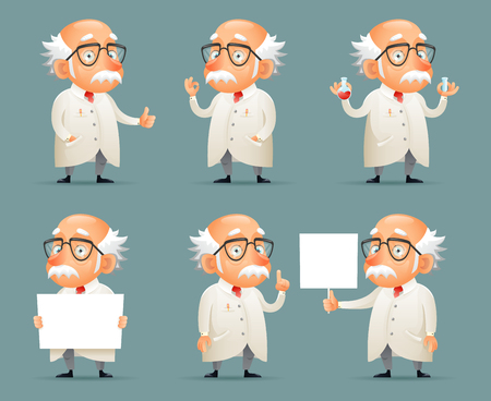Old Scientist Character Icons Set Retro Cartoon Design Mobile Game Vector Illustration Ilustracja