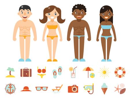 accessorize: Summer vacation male female characters color beach resort accessorize vector symbols icon flat design template illustration