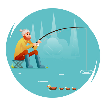 fishing Adult Fisherman with Fishing Rod Birds Isolated Concept Character Icon Flat Design Template Vector Illustration