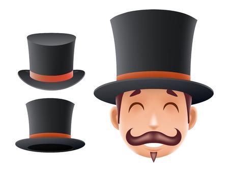 Gentleman Victorian Business Cartoon Bowler chapeau icône anglais 3d isolé fond rétro Vintage Grande Bretagne Design Vector Illustration