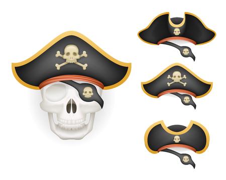 calavera caricatura: Cráneo con pirata sombrero conjunto realista cabeza aislado modelo mockup ilustración vectorial Vectores