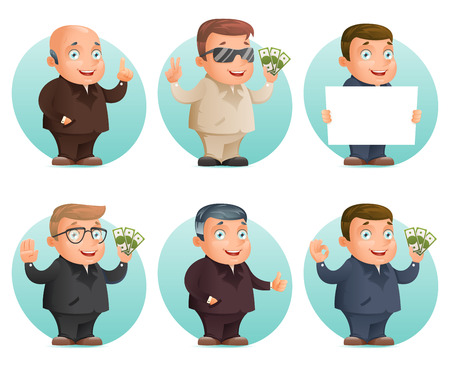 show bill: Businessman mascot professional hand gestures money ok thumb up victory pointing finger cartoon design vector illustration Vectores