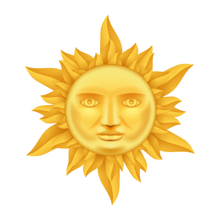 Golden Sun Face Antique Crown of Flames Realistic 3d Transperent Icon Template Background Mock Up Design Vector Illustration