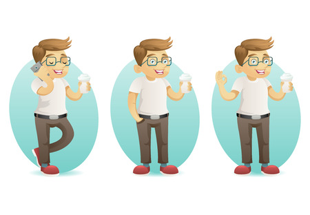 Cute smiling geek happy hipster with smartphone hold coffee in hand cartoon characters set isolated design vector illustration