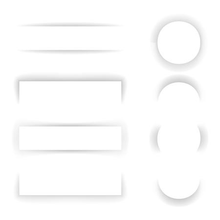 banner effect: Shadow Paper Template Effect Set Transparent Background Web Banner Mockup Design Vector Illustration