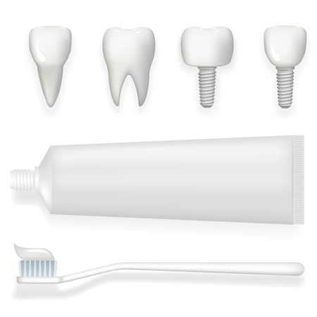 implanted: Tooth dental implant tube toothpaste and toothbrush realistic 3d poster stomatology isolated icons set template mock up design vector illustration Illustration