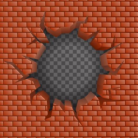 outward: Brick wall Hollow crack hole transparent background vector illustration