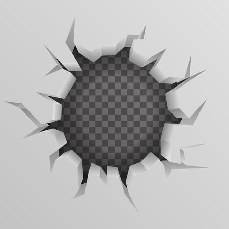 Mur de briques trou de fissure creux fond transparent illustration