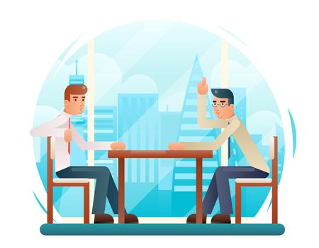 Hommes d'affaires discutant de stratégie design plat personnages fenêtre fond vector illustration vectorielle