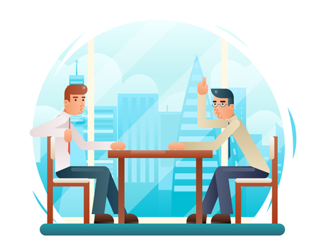 Businessmen discussing strategy flat design characters window city background vector illustration