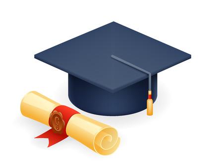 University Graduation Cap with Scroll Icon Student Education Symbol Isolated Realistic 3d Design Vector Illustration Illustration