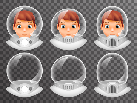 Bald Scientist Avatar Retro Realistic Helmet 3d Cosmonaut Astronaut Spaceman Tantamareska Poster Transperent Glass Background Icon Template Mock Up Design Vector Illustration