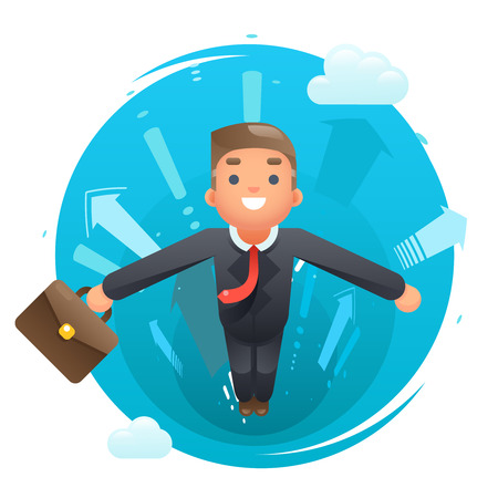 deeds: Flying happy cute superhero businessman character growth success infographic arrows background flat design vector illustration Illustration