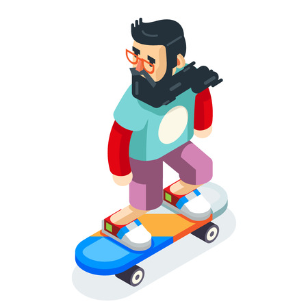 a charming: Hipster Geek Scater Ride Scateboard Cartoon Character Icon Isometric Design Vector Illustration