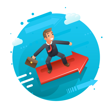 Businessman character riding on the infographic arrow growth success flat design vector illustration Stock Illustratie