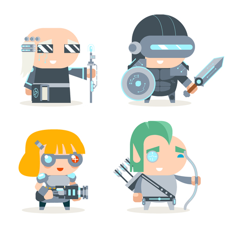 cleric: Sci-fi Fantasy Techno Knight Cybernetic Technomage Programmer Engineer RPG Game Character Vector Icons Set Vector Illustration