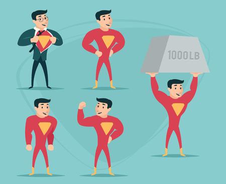 deeds: Businessman Turns in Superhero Suit under Shirt Happy Smiling Icon on Stylish Background Retro Cartoon Design Vector Illustration