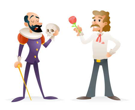 period costume: Actor Theater Stage Man Characters and Modern Icons Cartoon Design Template Vector Illustration.