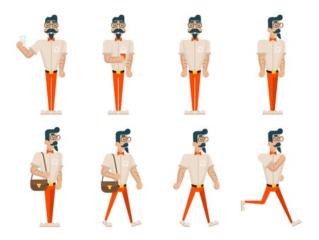 Hipster Geek Hipster in Different Poses Mobile Phone Coffee Walk Stand Run Wealthy Cartoon Businessman Character Icons Set Flat Design Vector Illustration Illustration