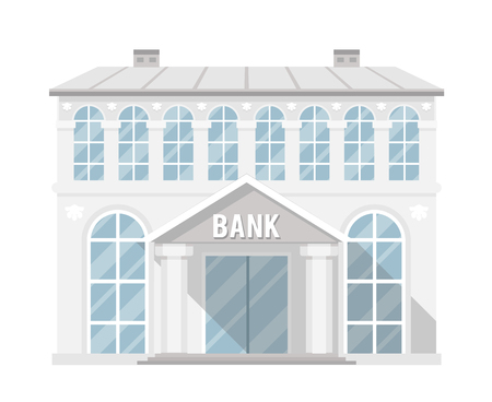 house building: Bank building administrative commercial house flat design vector illustration