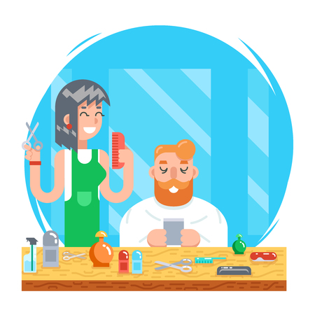 Barber hipster geek online mobile character male and female master haircuts icon on stylish background Flat Design Concept Template Vector Illustration Illustration