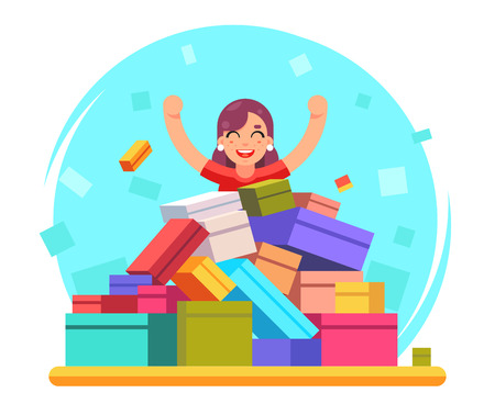 shoppers: Happy woman shopping pile of goods gifts boxes flat design character vector illustration Illustration