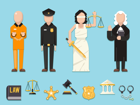 imprisonment: Law justice Themis Femida scales sword police judge prisoner characters icons symbols set flat icon vector illustration