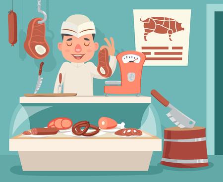 Meat Shop Counter Butcher Seller Retro Vintage Cartoon Character Icon Background Design Vector Illustration 일러스트