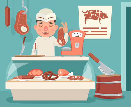 Meat Shop Counter Butcher Seller Retro Vintage Cartoon Character Icon Background Design Vector Illustration Иллюстрация