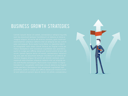growing up: Business Growth Strategies oncept Businessman Hold Flag Character Achievement Top Point Goal Symbol Mountain clouds Background Flat Design Vector Illustration