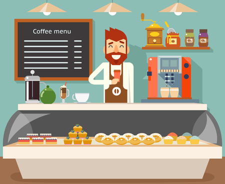Coffee shop interior seller bakery taste sweets flat design vector illustration