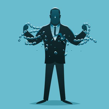 Businessman release breaking chains liberation cartoon silhouette design business concept vector illustration