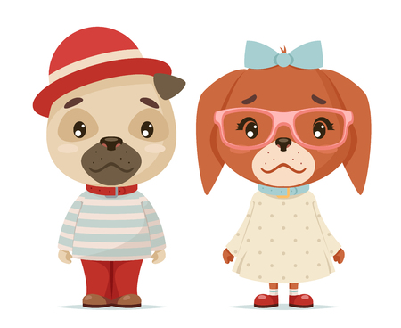 cute puppy dogs boy girl geek cubs hipster mascot cartoon design flat vector illustration Stock Photo