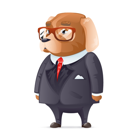 good friends: Dog boss fashionable business suit good boy glasses character cartoon design vector illustration