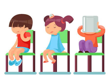 baby sick: Medical care sick children sitting chairs cartoon characters isolated vector illustration Illustration
