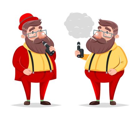 Vape Smoking Geek Hipster Casual Character Icon Cartoon Vector Poster illustration Illustration